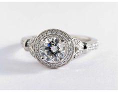Monique Lhuillier Vintage Floral Halo Diamond Engagement Ring in Platinum (1/4 ct. tw.)
