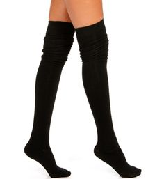 Black Solid Thigh High Socks from Windsor
