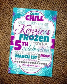 Frozen Birthday Party Invitation by CarrellandCompany on Etsy, $15.00