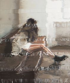 Andy Denzler (Swiss, b. Zürich, Switzerland) - Girl On a Brown Leather Sofa, 2016 Paintings: Oil on Canvas Beach At Night, Journal Du Design, Another Day In Paradise, Blurred Lines, Abstract Faces, Glitch Art, Architecture, Oil On Canvas, Art Drawings