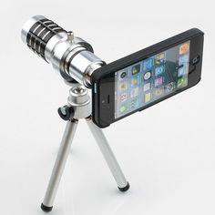 Stocking Stuffers: 12X Magnifier Zoom Aluminum Camera Telephoto Lens w/ Tripod for Apple iPhone 5