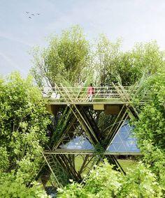 Modular bamboo tent hotel stacks up vertically