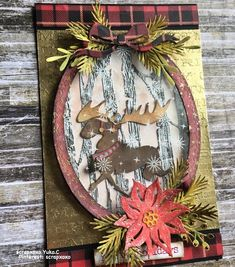 The moose doesn't do it for me, but the rest of the card is great! Create Christmas Cards, Christmas Paper, Xmas Cards, Christmas Projects, Holiday Cards, Christmas Poinsettia, Timmy Time, Christmas Moose, Handmade Christmas Decorations