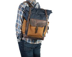 Navy blue and yellow canvas, brown leather rucksack. Crazy Horse, Waxed Canvas, Canvas Leather, Dark Brown Leather, Natural Leather, Hipster Backpack, Roll Top, Leather Roll, Top Backpacks