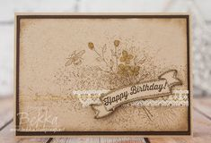 handmade card: Touches of Texture Birthday Card  ... kraft .. Vinage modern look ... luv all of the tone on tone stamping ....