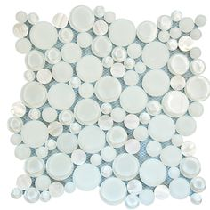 Ideal for use as a kitchen or bathroom backsplash, Agata Circle Shell White Mosaic Glass Tile with circular mother of pearl adds a luminesce ambience to any space. Glass Tile Backsplash, Glass Mosaic Tiles, Stone Mosaic, Backsplash Ideas, White Glass Tile, White Tiles, Colored Glass, Shell, Bathroom Ideas