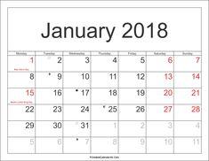 blank calendar template january 2018