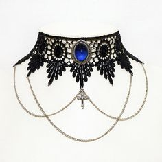 Gothic choker steampunk necklace - Chains, cross and ornate Sapphire blue…