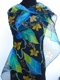 Chiffon silk scarf Hand Painted Black blue green turquoise Boho Boutique, Silk Art, Batik Pattern, Scarf Design, Green Turquoise, Silk Painting, Silk Scarves, Black Silk, Yellow Flowers