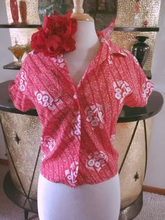 Retro Red Blouse Floral Tiki Swing Rockabilly Pinup M L 1940s 1950s 40s