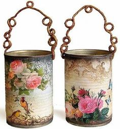 decoupage napkins onto the glass holders. The thinness of the napkins will make them transluscent Tin Can Crafts, Crafts To Make, Fun Crafts, Arts And Crafts, Paper Crafts, Soup Can Crafts, Decor Crafts, Coffee Can Crafts, Paper Toys