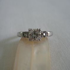 Antique Diamond Engagement Ring. Three Stone Old Cut Diamond Ring in Platinum. Addy on Etsy.. £1,100.00, via Etsy.