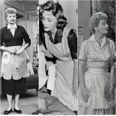 By the 50s and 60s, aprons became part of daily dress for TV moms. From Lucy to Donna Reed, Mary Tyler Moore in her Chiffon Cocktail Aprons and June Cleaver in her apron and pearls, the TV moms made them popular and fashionable for all homemakers.