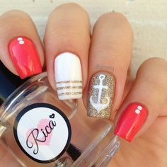 Red and Gold Nautical Nails With White Anchor �