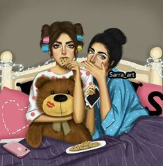 Askkurabiyesi Girlfriends - girly m Girly M, Best Friend Drawings, Girly Drawings, Cool Drawings, Sarra Art, Cute Girl Drawing, Cute Girl Wallpaper, Cooler Look, Girl Sketch
