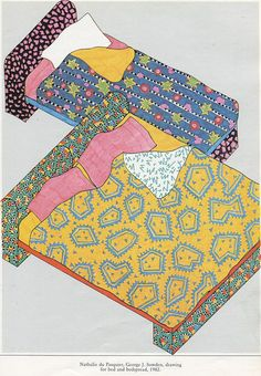 dessin : Nathalie Du Pasquier, lit et linges, 1982, design Memphis