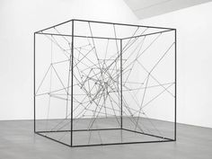 Line the upper rim with leds. The inner entanglement should be contrustructed of uv reactive fabric/string. Potentially use painted cellophane to create a stained glass effect. Michel François Pièce détachée, cm x 250 cm x 250 cm Abstract Sculpture, Sculpture Art, Sculptures, Steel Sculpture, Wire Art, Land Art, Michel, Art Plastique, Installation Art