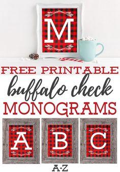 Free Printable Buffalo Check Monograms Farmhouse Christmas, Rustic Christmas