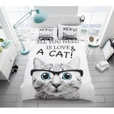 New Luxury All You need is Cat Love Duvet/ Quilt Cover Bedding Sets With Pillow Case Double King (Double, All You Need is Cat Love) Modern Duvet Covers, Bed Covers, Duvet Cover Sets, Pillow Covers, Duvet Day, Velvet Duvet, Discount Bedding, Cozy Bed, Quilt Sets