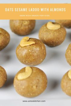Easy and healthy sweet snack. You can even serve these ladoos as a snack or breakfast. Indian Desserts, Indian Sweets, Indian Dishes, Indian Food Recipes, Indian Snacks, Healthy School Snacks, Healthy Sweet Snacks, Healthy Kids, Healthy Food