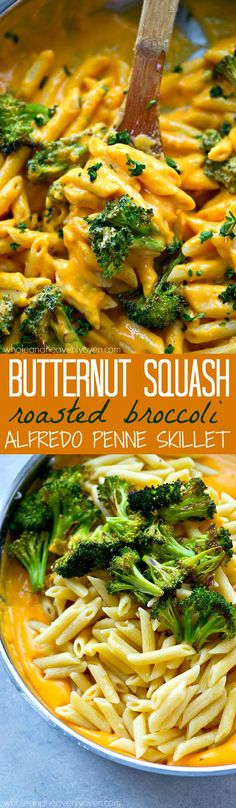 Nobody is ever going to guess there's butternut squash hiding in this UNBELIEVABLY-creamy alfredo penne skillet! Ready for the dinner table in only 30 minutes with super-basic ingredients. (recipes with pasta noodles) Veggie Recipes, Pasta Recipes, New Recipes, Vegetarian Recipes, Cooking Recipes, Healthy Recipes, Vegetarian Appetizers, Broccoli Recipes, Paleo Dinner