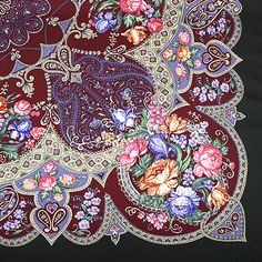 Russian Wool Shawl - Here's a corner of a handmade Russian Wool Shawl, the intricacy and detail of these amaze me every time I look at it. This one comes from the Pavlovo Posad Shawl Manufacture, located in the village of Pavlovo Posad which is located outside of Moscow.