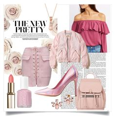 """""""Let's go pink"""" by goldleather1 ❤ liked on Polyvore featuring WithChic, Accessorize, Essie, Charlotte Russe, Hollister Co., LE VIAN and Marchesa"""