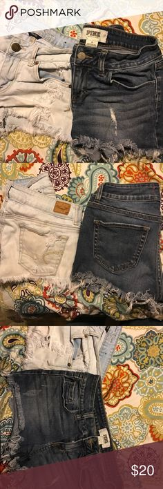 American Eagle and PINK Shorts Bundle Bundle of short shorts!!!  Light colored pair are American Eagle Distressed Shorts, Darker Pair are Victoria's Secret PINK cut offs.  Both Sz 4 and will separate if you'd like and I'll just make a separate post for you :) $12/ea or both for $20 American Eagle Outfitters Shorts Jean Shorts