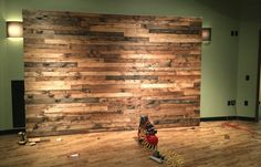 Reclaimed pallet wall paneling