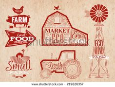 Farm characters in vintage style lettering in tractor barn and the mill and the sign field stylized drawing in kraft red color - stock vector