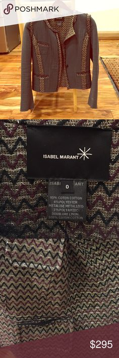 Reversible Isabel Marant Jacket XS Reversible Isabel Marant Blazer Jacket. Two jackets for the price of one, and it is amazing! Grey on one side with amazing details and trim in a pattern with some sparkle to it! If you remove the tag you can reverse it, because the inside has the same patterned material with pockets. This is very high end and so fun! Size 0 or XS, but it should also fit a Small... I wore it before baby when I was size 0 and 32B, and it still fits now with a new baby at 32D…