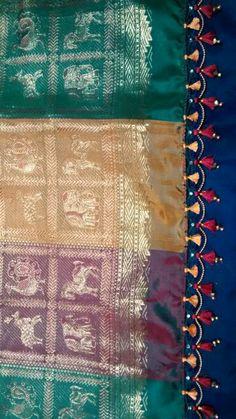 Double kuchhu Saree Tassels Designs, Saree Kuchu Designs, Blouse Designs, Half Saree Lehenga, Saree Dress, Sari, Blouse Patterns, Sewing Patterns, Saree Accessories