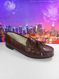 Mens shoes STACY ADAMS brown soft LEATHER kiltie casual Moc Toe Loafers 8.5 M #StacyAdams #LoafersSlipOns