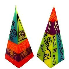 Set of Two Hand-Painted Pyramid Candles - Matuko Design Handmade and Fair Trade. This set of two colorful pyramid shaped candles are hand-painted by artisans in South Africa. Each candle is 2 inches square at the base, and approximately inches tall. Romantic Candles, Unique Candles, Red Candles, Handmade Candles, Candle Lanterns, Decorative Candles, Fall Candles, Candle Centerpieces, Happy Birthday Candles