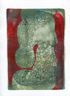 """All About the Red #3, 11""""x9"""", monoprint, 2014 copyright Mary Zeran"""