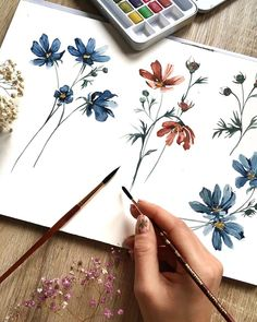 mentions J'aime, 47 commentaires – Ania Zwara Watercolor Inspiration, Painting Inspiration, Art Inspo, Illustration Blume, Watercolor Illustration, Watercolor Flowers, Watercolor Paintings, Watercolors, Mermaid Drawings