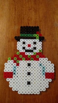 Cuddle SnowMan with Red Scarf Perler Beads Magnet