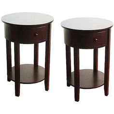 Round End Table With Drawer 2pc Set, Espresso