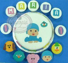 Cupcakes a juego con tarta Pocoyo