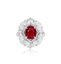 A 3.53 CARAT BURMESE 'PIGEON'S BLOOD' RUBY AND DIAMOND RING