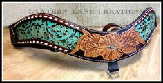 Custom tripping collar is turquoise floral cowhide