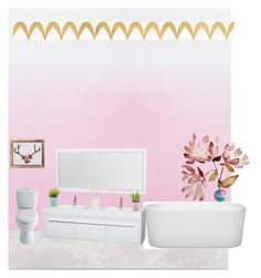 """""""Reagan and Madeleine's bathroom"""" by maurshaedab-1024 ❤ liked on Polyvore featuring interior, interiors, interior design, home, home decor, interior decorating, SomerTile, Designers Guild, Wyndham Collection and Barclay Butera"""