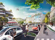 Mobility – Stadt 2030  cgi 2030 city ecars switzerland swiss ebike photoshop retouching studioastic