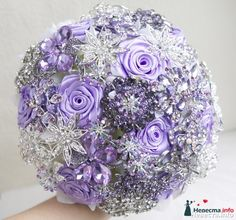lilac satin flower and rhinestone brooch bouquet, idea for wedding