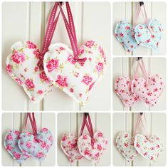 Handmade Fabric Hanging Hearts Set of Two Vintage Wedding Shabby Chic Floral