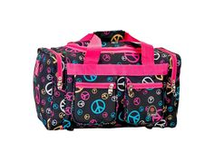Rockland Luggage 19In Tote Bag Travel Duffle Carry On Freestyle Peace Sign Print