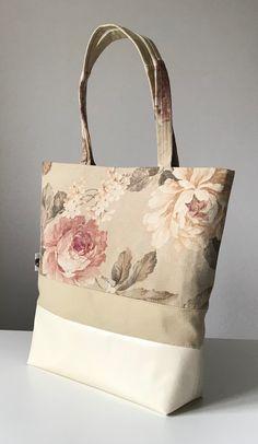 Shoulderbag, roses, beige, creme, womansbag