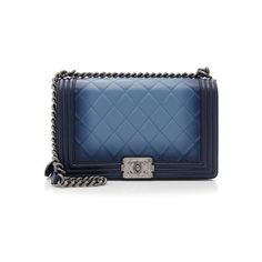 Rental Chanel Ombre Lambskin Medium Boy Bag ($500) ❤ liked on Polyvore featuring bags, handbags, blue, blue purse, chanel purses, strap bag, ombre bag and chanel bags