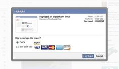 Facebook testing promotion opportunity for status updates. Cost ranges from 0,50 to 2 USD.