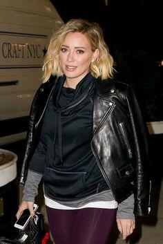 Celebrities In Leather: Hilary Duff wears a black leather jacket